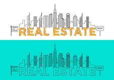 Flat line design word REAL ESTATE with buildings and elements. Real estate concept. City illustration in line style. Royalty Free Stock Photo
