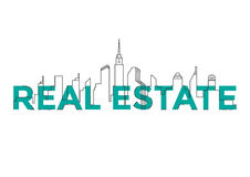 Flat line design word REAL ESTATE with buildings and elements. Real estate concept. City in line style. Stock Photography