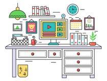 Flat line design workplace desk, creative office room interior, desktop computer on digital artist work place. Vector. Illustration royalty free illustration