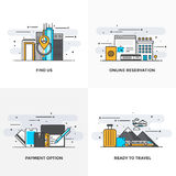 Flat line Designed Concepts 10-Colored. Modern flat color line designed concepts icons for Find us, Online Reservation, Payment Option and Ready to Travel. Can Royalty Free Stock Images