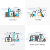 Flat line Designed Concepts 7-Colored. Modern flat color line designed concepts icons for Investment, Strategy, Analysis and Find the Right Person. Can be used Royalty Free Stock Images