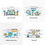 Flat line Designed Concepts 8-Colored. Modern flat color line designed concepts icons for Online Store, Pay Per Click, Mobile Marketing and Delivery. Can be used Stock Photography