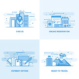 Flat line Designed Concepts 10. Modern flat color line designed concepts icons for Find us, Online Reservation, Payment Option and Ready to Travel. Can be used Stock Image