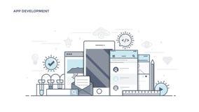 Flat Line Desin Header - App Development Royalty Free Stock Image
