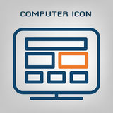 Flat line desktop computer icon. Laconic blue and orange lines on gray background. Isolated vector object.  Stock Photos