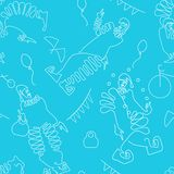 Flat line drawing of clowns with circus attributes. Seamless pattern. vector illustration