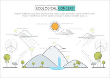 Flat line eco concept. Royalty Free Stock Photo