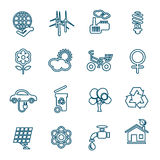 Flat line ecology icons set Royalty Free Stock Photos