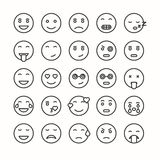 Flat and line emoticon face icons set. Royalty Free Stock Photos