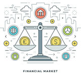 Flat line Financial Market Concept Vector illustration. Modern thin linear stroke vector icons. Website Header Graphics, Banner, Infographics Design Stock Photo