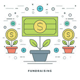 Flat line Fundraising and Financial Growth Concept Vector illustration. Modern thin linear stroke vector icons. Website Graphics, Banner, Infographics Design Royalty Free Stock Images