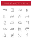 Flat Line Furniture Icons Royalty Free Stock Photography