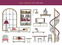 Flat line furniture set. Vector flat line furniture set of interior elements - sofa, armchair, table, window, fireplace, spiral staircase and lamps Stock Photo