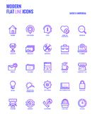 Flat line gradient icons design-Basic and Universal Royalty Free Stock Photo