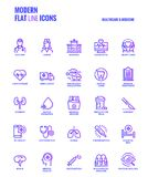 Flat line gradient icons design-Healthcare and Medicine Royalty Free Stock Images