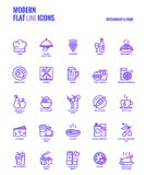 Flat line gradient icons design-Restaurant and food Royalty Free Stock Image