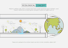 Flat line green eco life conservation. Ecological concept design.Flat line green Eco life conservation.Vector illustration Royalty Free Stock Image