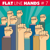 Flat line hands 6 Royalty Free Stock Images