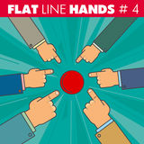 Flat line hands 4. Vector hand style flat line design. Hand of a businessman finger presses the red button, pointing the finger: start, run, stop, click. For web Royalty Free Stock Images