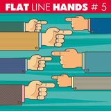 Flat line hands 5. Vector hand style flat line design. Hand of a businessman shows his finger to the right, to the left. For web, print Royalty Free Stock Photography