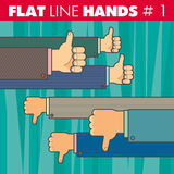 Flat line hands 1. Vector hand style flat line design. Thumbs up, thumbs down, finger, like, not like. For web, print Royalty Free Stock Images