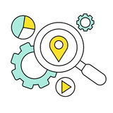 Flat line icon of digital marketing, search for Royalty Free Stock Images