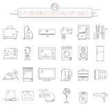 Flat line icon set of 24 item household appliances. Modern thin line icons set of 24 kitchen appliances. Simple mono linear pictogram pack Royalty Free Stock Image