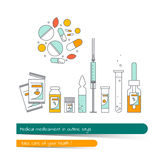 Flat line icon set of medicament. The card on the medical theme, contains banner for text with a shadow and a hand-drawn arrow with the text.Vector Stock Photography