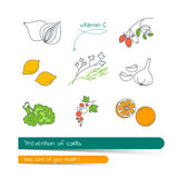 Flat line icon set of products containing vitamin C. Prevention of colds. The card on the medical theme, contains banner for text with a shadow and a hand Royalty Free Stock Image