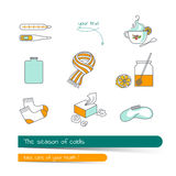 Flat line icon set on the subject of season colds. Stock Photos