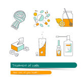 Flat line icon set. Treatment of colds. Vector illustration in outline The card on the medical theme, contains banner for text with a shadow. Traditional and Royalty Free Stock Photo