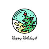 Flat line icon on the winter holidays. Flat line icon on the New Year's and Christmas Holidays. Decorated Christmas tree Stock Photos