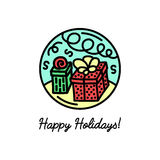 Flat line icon on the winter holidays Stock Photo