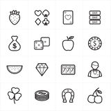 Flat Line Icons For Casino Icons and Game Icons Vector Illustration Stock Photography