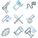 Flat line icons collection of self-defense. Set of flat line black and blue color icons for self defence weapons and devices on white background stock illustration