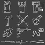 Flat line icons collection of self-defense. Set of white contour icons for self defence weapons and devices on black background royalty free illustration