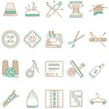 Flat line icons collection of sewing items Stock Photography