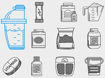 Flat line icons collection for sports nutrition Stock Photos