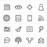 Flat Line Icons Communication and Web Icons Vector Illustration Stock Images