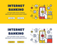 Flat line icons design of INTERNET BANKING and elements Royalty Free Stock Photo