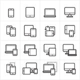 Flat Line Icons Device Icons and Responsive Web Design Icons Vector Illustration Royalty Free Stock Photo