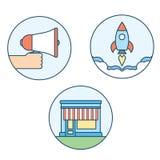 Flat line icons of digital marketing Royalty Free Stock Photo