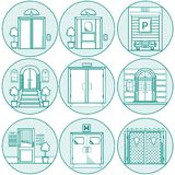 Flat line icons for door Stock Images