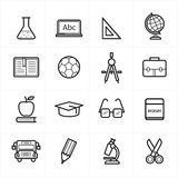 Flat Line Icons For Education Icons and School Icons Vector Illustration Stock Photography
