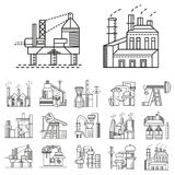 Flat line icons for factories Royalty Free Stock Photos