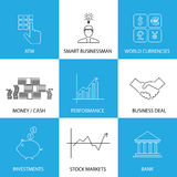 Flat line icons on finance, money, currencies - concept vector. This graphic also represents financial performance with graphs, banking money and atm Royalty Free Stock Images