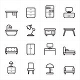 Flat Line Icons For Furniture Icons Vector Illustration Stock Images