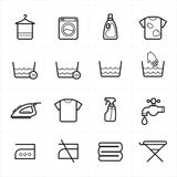 Flat Line Icons For Laundry and Washing Icons Vector Illustration Stock Photos