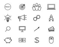 Flat line icons and logo set of crowdfunding. Service, investing platform for creative project, development of small business, startup model and community ideas Stock Photos