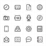 Flat Line Icons For Media Icons and Communication Icons Vector Illustration Stock Image